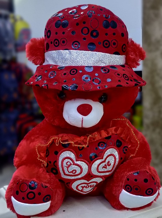 (40cm) Beautiful Red Teddy With Red Hat & Heart