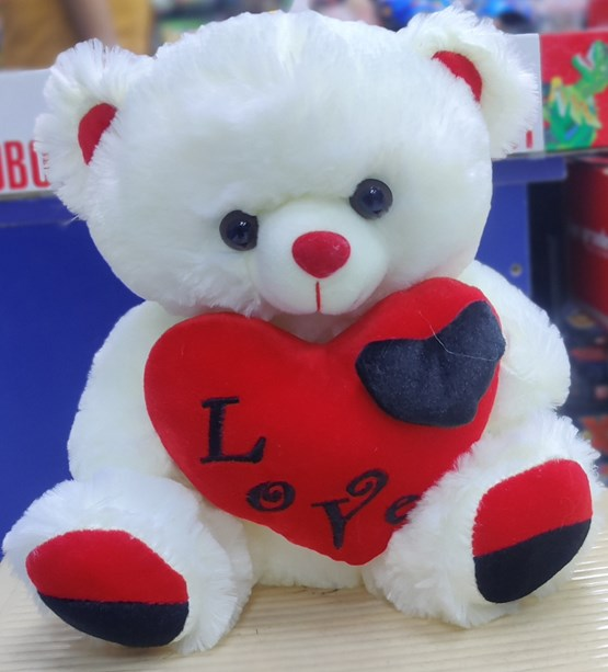 Beautiful White Teddy With Red Heart(30 cm)