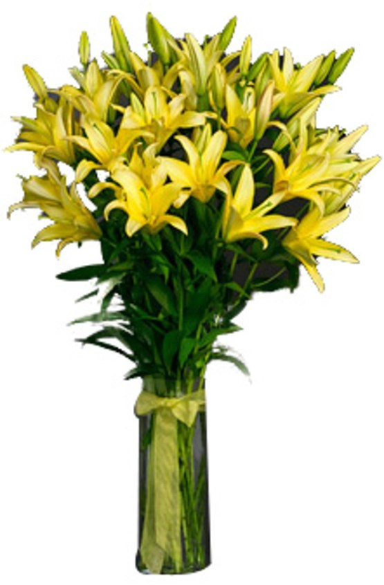Vase with 10 Stems of Yellow Lilies
