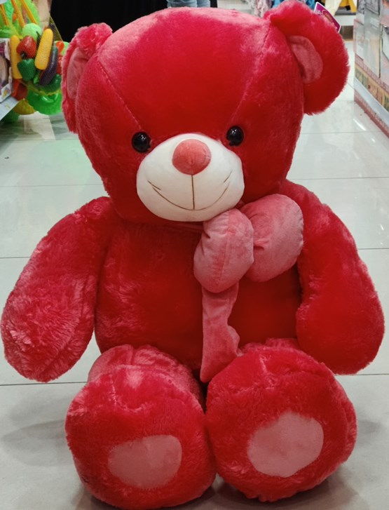 Red Teddy With Beautiful Red Ribbon (3 Feet)